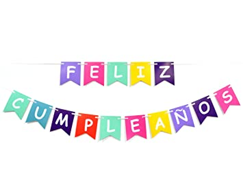 amazon com feliz cumpleaños colorful banner happy birthday fiesta