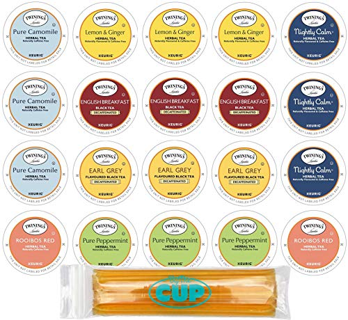 Twinings Herbal & Decaffeinated Sampler - 20 Count Assorted Keurig 2.0 K-Cups - With 10 By The Cup Honey Sticks