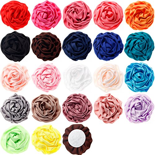 Ademoo 2.7 Inch Rosettes Satin Rose Fabric Flowers DIY Headbands Making Embellishments (22pcs of pack)