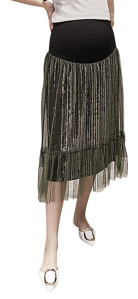 Hibukk Olive Brown Black Mesh Overlay Straight Pleated Maternity Midi Skirt, Amy-Green S,Manufacturer(L)
