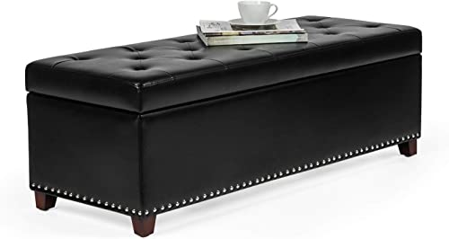 Homebeez Faux Leather Storage Ottoman Bench
