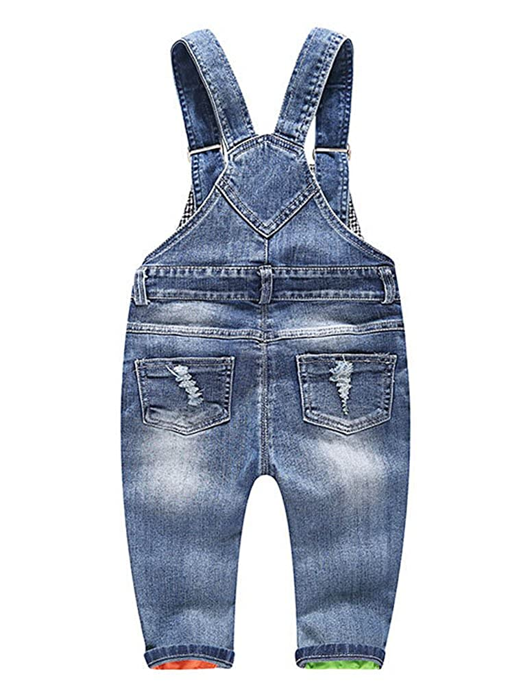 ARAUS Bebé Pantalones de Peto Largos Mono Vaquera Overalls Roto Jeans Pants para Niños Pequeños Primavera, 3 Meses-3Años