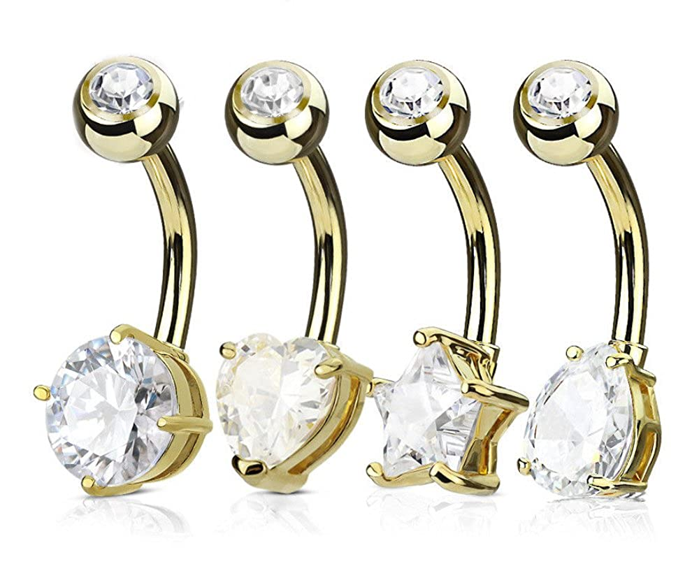 Round Star 14g Body Jewelry 4pc Value Pack Heart Tear Drop CZ Gem Belly Rings