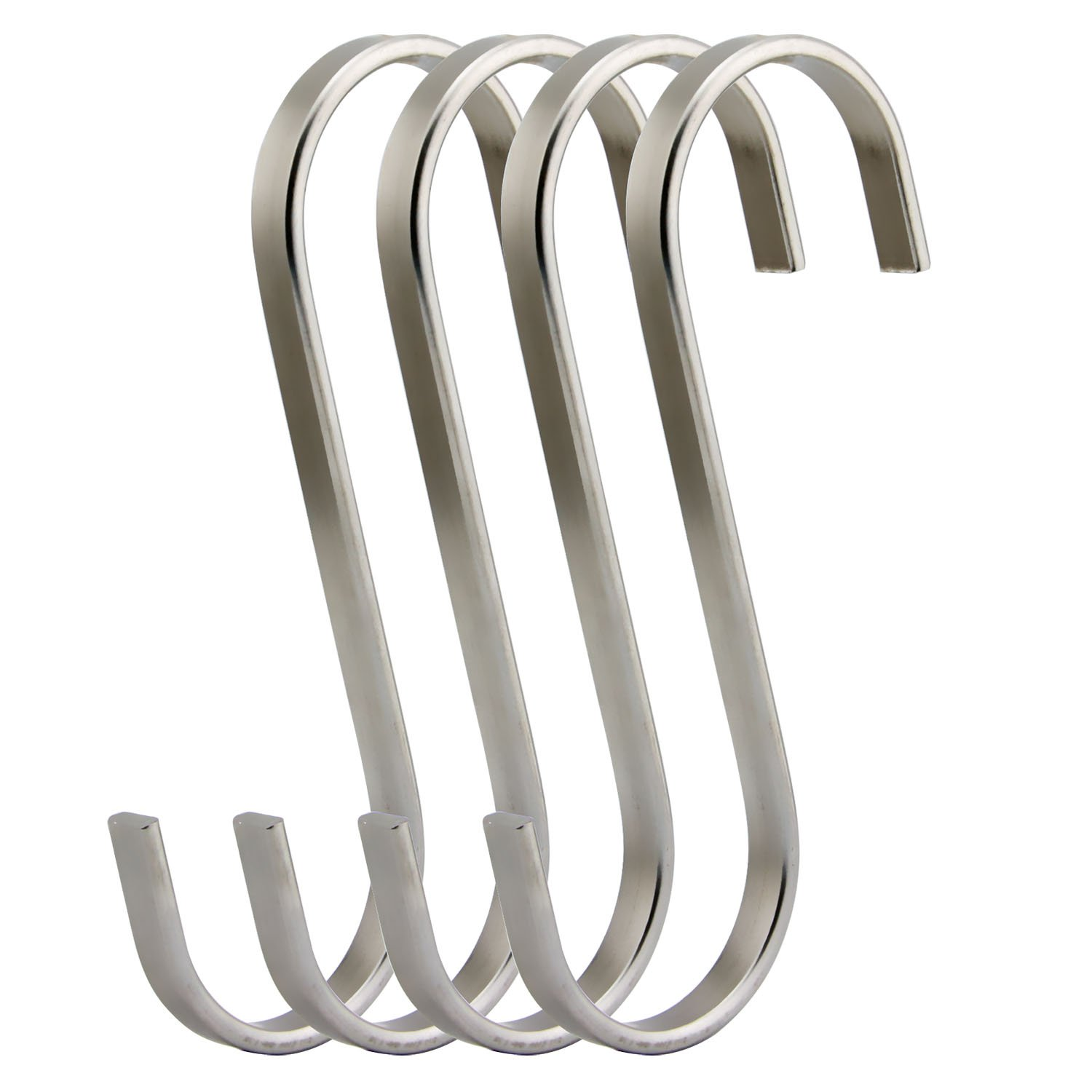 RuiLing Premium 4-Pack Size Extra Large Brushed Stainless Flat S Hooks Kitchen Pot Pan Hanger Clothes Storage Rack, XXL, Metal