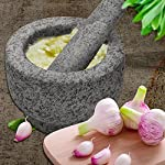 """Anzone Mortar and Pestle, Unpolished Granite,Spice Crusher ,5.9 Inch 13 Our finely designed solid set is made of genuine natural granite. Dimensions: 5.9 """" Diameter x 3.9"""" tall bowl,5.9"""" Pestle Length. The molcajete is used for effectively grinding, crushing, mixing, mashing herbs, spices, nuts, ginger, garlic and other assorted things to very fine powder or paste. Its heavy weight easily perform grinding. You can control the degree of crushing with ease.."""