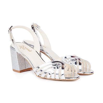 9fe678880 Beyond Skin Vegan Shoes Luella C Silver   Glitter Block Heel Vegan Sandals -41