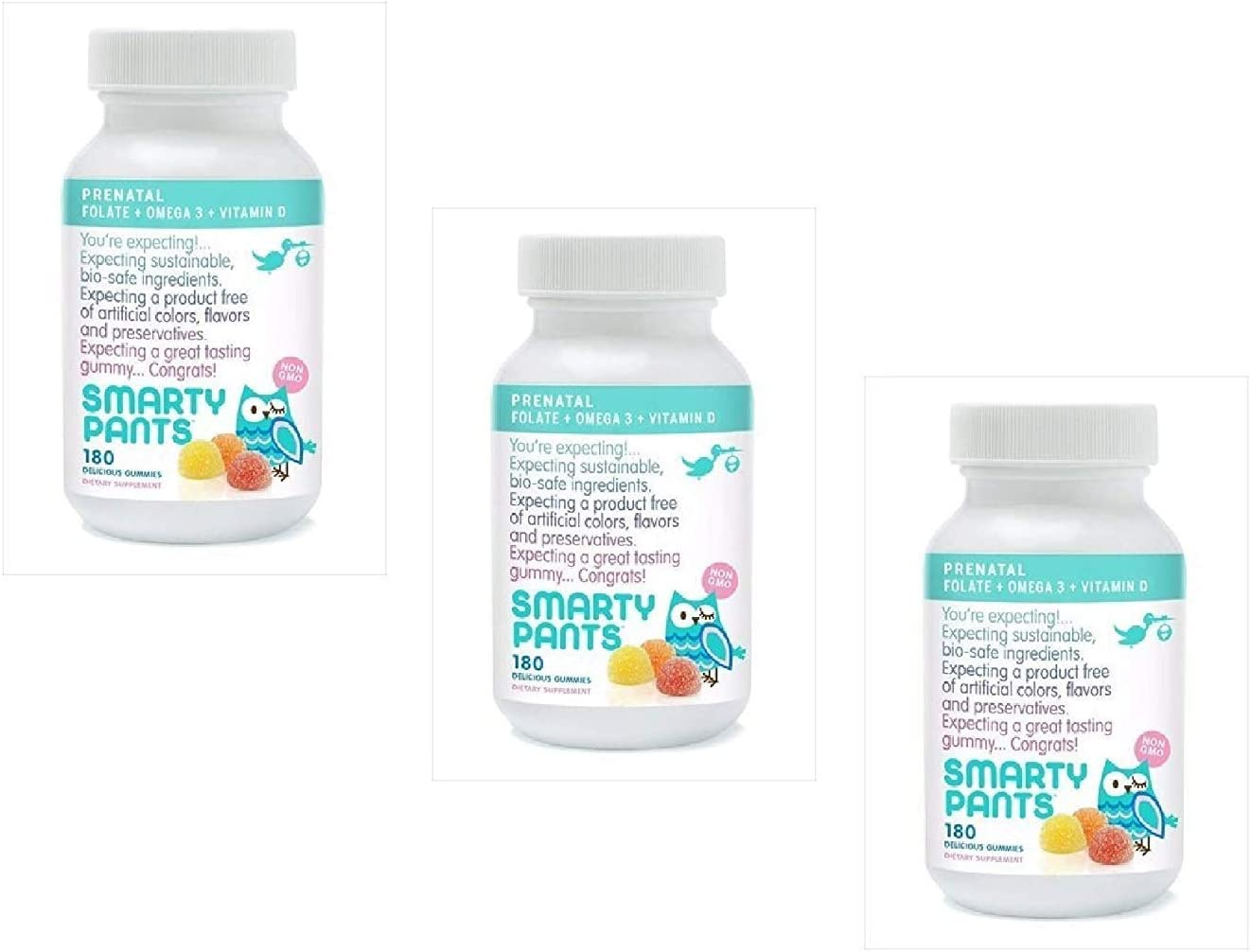 Smartypants Prenatal Gummy Vitamins Multivitamin Plus Folate, 180 Count 3 Pack
