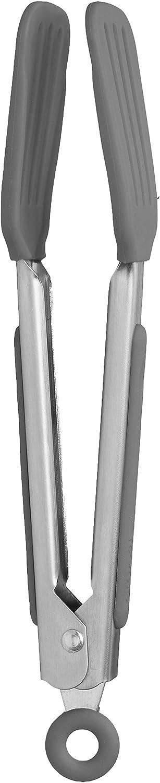 Tovolo Mini Turner Tongs, Flat Silicone Head, Easy-Lock Mechanism, 8.25 Inches, Charcoal