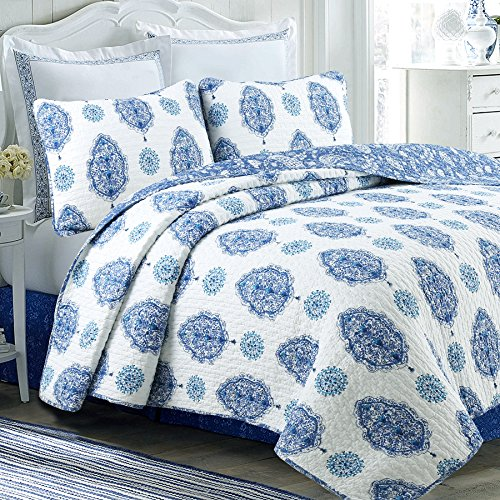 Cozy Line Home Fashions Emerson Quilt Bedding Set, Navy Blue White 100% Cotton Reversible Coverlet,Bedspread for Women (Gems Tree, Queen - 3 Piece) (White Quilt Blue And)