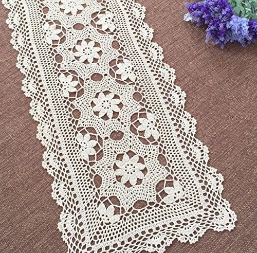 Ustide Crochet Floral Table Runner Cotton Lace Table