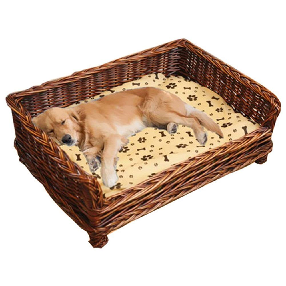 A 69X51X17x30CM A 69X51X17x30CM Dog Pet Nest Rattan Dog Basket for Indoor & Outdoor Use with Cotton and Bamboo Mattress All Seasons Available (color   A, Size   69X51X17x30CM)