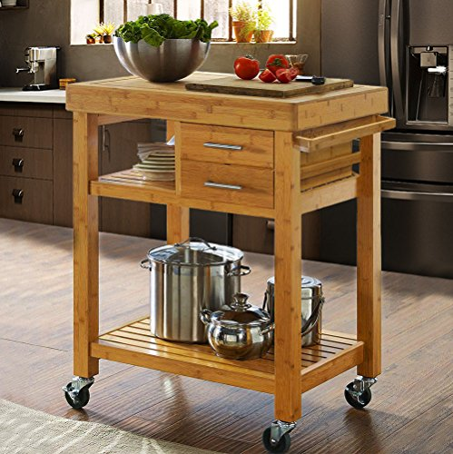 (Clevr Rolling Bamboo Wood Kitchen Island Cart Trolley, Cabinet w/Towel Rack Drawer Shelves)