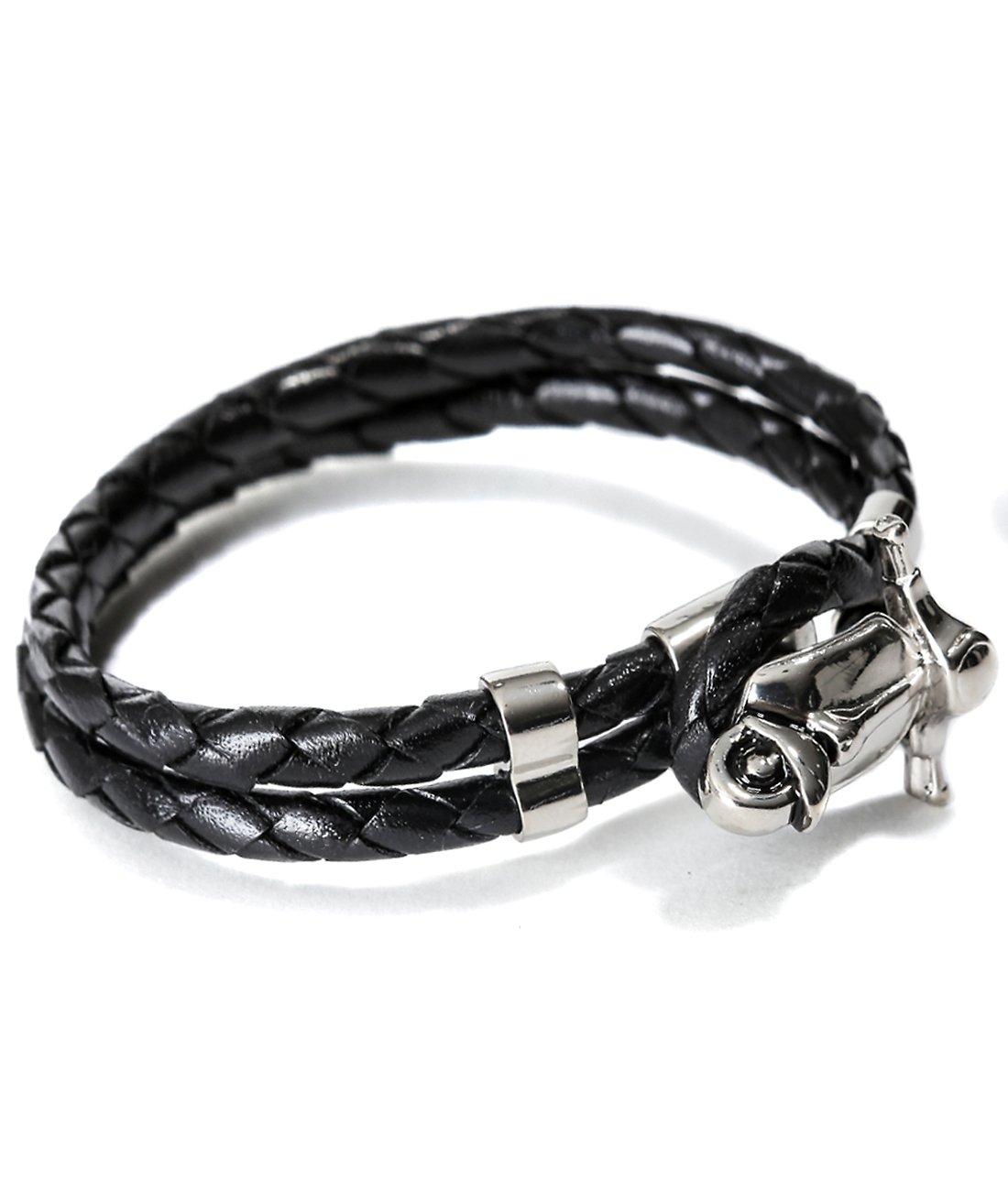 Mon Art Women's Braided Bracelet with Metal Toggle S Black