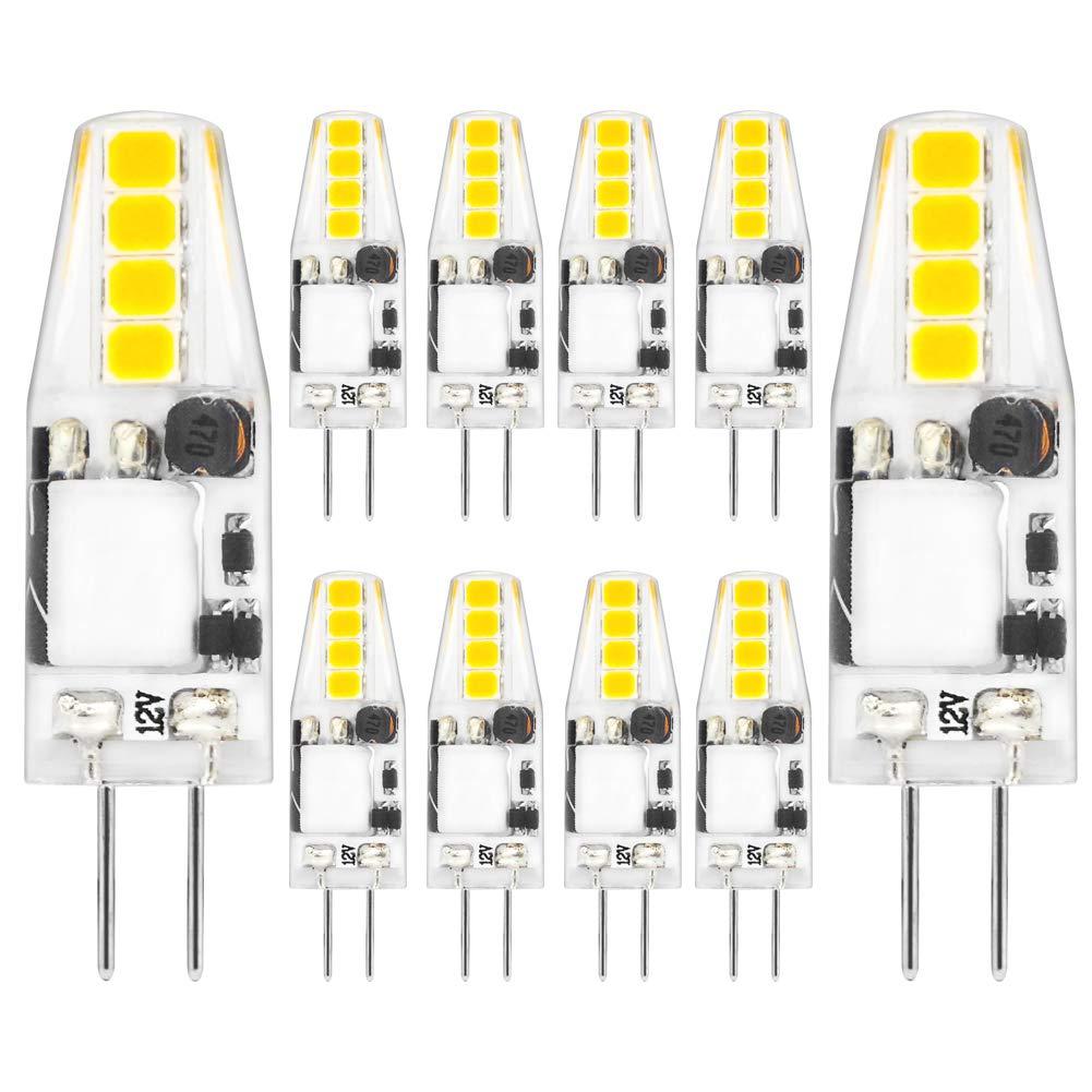 10-Pack Gaormii AC//DC 12V Daylight White 6000K-6500K Corn Bulbs for Landscape Puck Lights G4 Dimmable LED Bulb Mini G4 Bi-pin LED Bulb 2Watt Lighting Equivalent 20W T3 JC Type Halogen Bulb Ceiling Lights