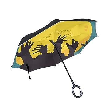 ALINLO Paraguas invertido Halloween Zombie, Luna de Mano, Doble Capa, Paraguas inverso Impermeable