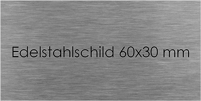 Edelstahl T/ürschild Briefkastenschild Namensschild mit Lasergravur Gravur fixieren mit Schrauben Bohrl/öcher ca /Ø 3mm Innen Design 2-125x45mm Zweizeilig und Au/ßenbereich geeignet Wunschtext