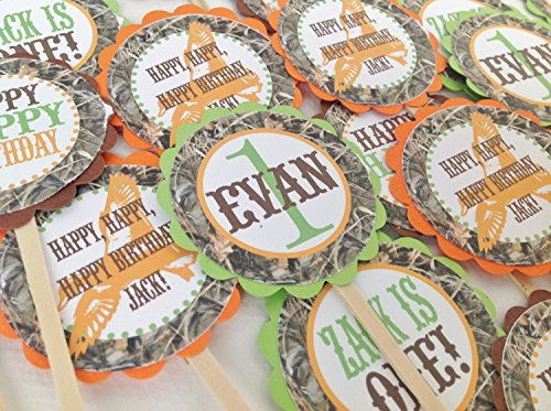 12 - Cupcake Toppers - Duck Dynasty Inspired Happy Birthday Collection - Max 4 Camo Background & Lime Green, Orange and Brown Accents - Party Packs Available
