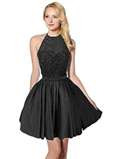 Sarahbridal Women Prom Dresses Short Halter Taffeta Dress Homecoming Wedding Party Ball Gowns with Beads for