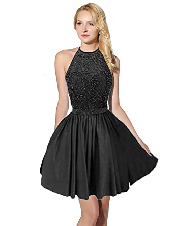 Sarahbridal Women Prom Dresses Taffeta Halter Homecoming Party Ball Dress with Beads Grid SSD401 Black Size