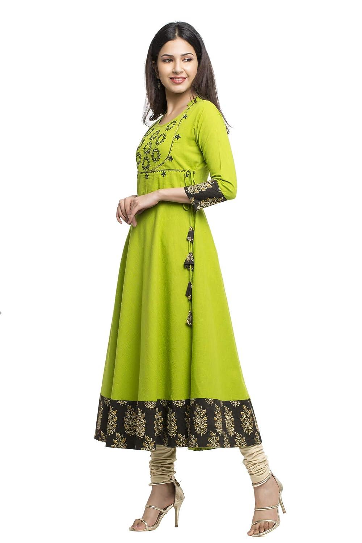 Green Color Cotton Slub Embroidered Anarkali Kurta Collection 2021