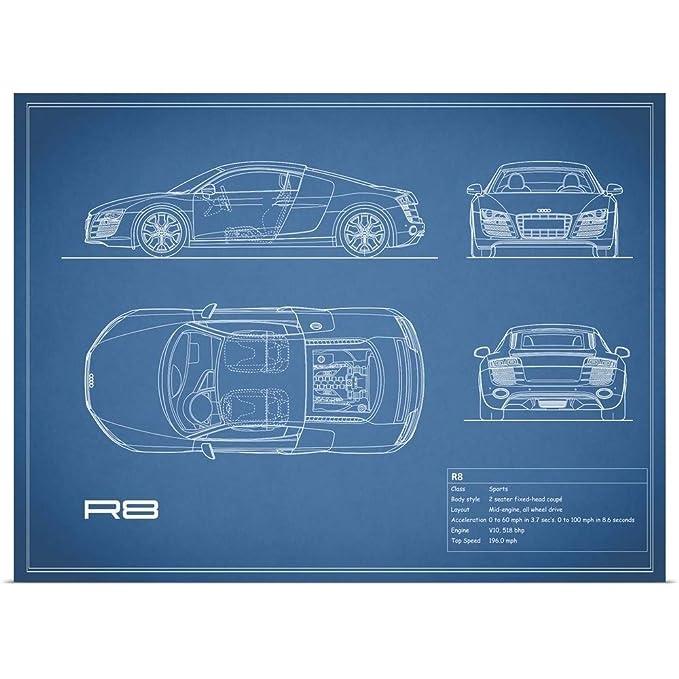 Amazon.com: GREATBIGCANVAS Poster Print Entitled Audi R8 V10 - Blue by Mark Rogan 16