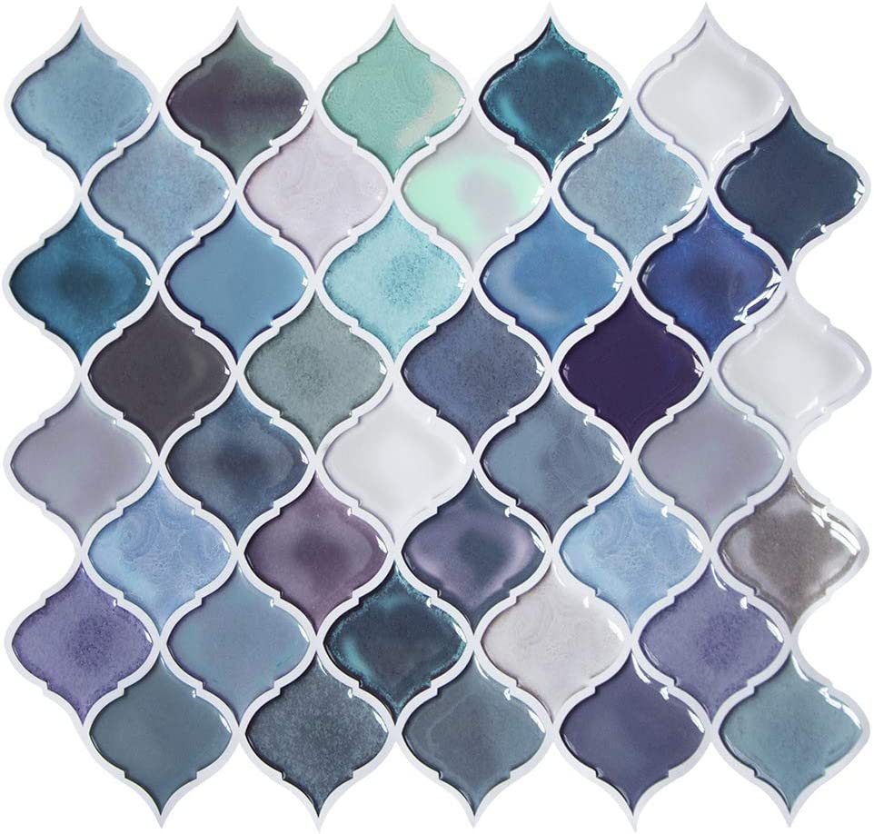 - Teal Arabesque Peel And Stick Tile For Kitchen Backsplash