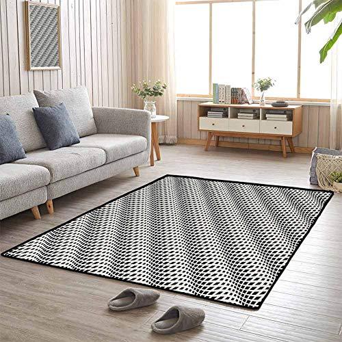 Bedroom Carpet Abstract Bedroom Livingroom Floor Rug Wavy Rhombus Arrangement Abstract Modern Monochrome Illustration Diagonal Shapes 70