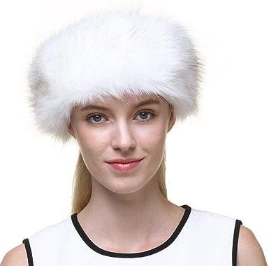 b7e50f2e549 Vogueearth Women s Winter Faux Fur Earwarmer Earmuff Ski Hat Headband Cream  White