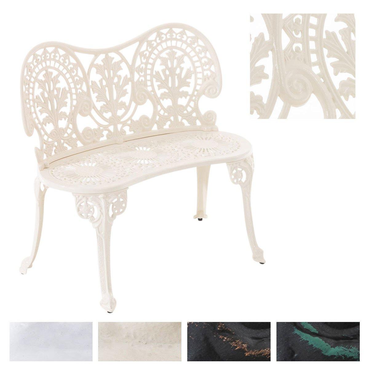CLP Gartenbank MAHADEV aus lackiertem Eisen I Sitzbank im Jugendstil I Eisenbank mit 2 Sitzplätzen I erhältlich Creme