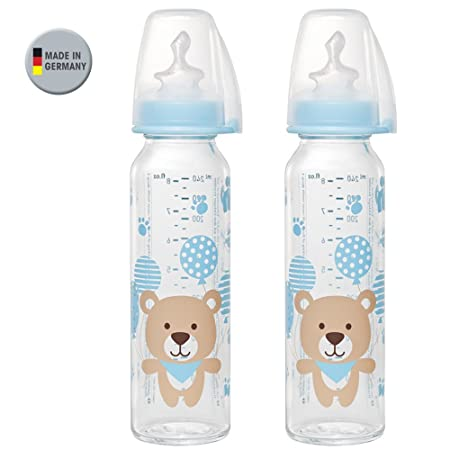 Nip Botella de cristal Uni//Juego De 4//Baby Botella de cristal//2 x 250 ml botella estándar Cristal - Aspiradora Talla M//2 x 125 ml botella estándar ...