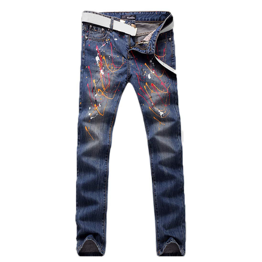Futtle Mens Colorful Printed Pants Freedom Individuality Slim Straigh Leg Indigo Jeans