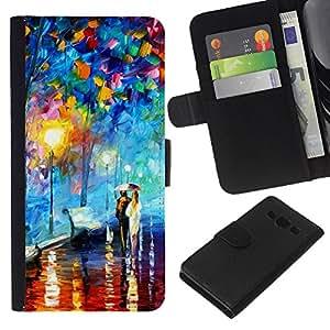 JackGot ( Colorful City Park ) Samsung Galaxy A3 la tarjeta de Crédito Slots PU Funda de cuero Monedero caso cubierta de piel