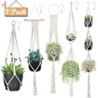 Macrame Plant Hangers, Hanging Planters Set of 5 with 5 Hooks, Hanging Planters for Indoor and Outdoor Plant Décor, Different Tier (5 Sizes) €¦