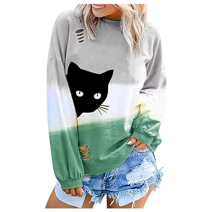 Reooly Camiseta Estampada con Estampado de Gato de Moda para Mujer Camiseta de Manga Larga con Cuello Redondo Superior Mujer