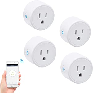 FRANKEVER WiFi Smart Plug - Smart Outlets, Wi-Fi Mini Socket Outlet,Works with Alexa, Google Home and IFTTT, No Hub Required,Voice Control, APP Remote Control