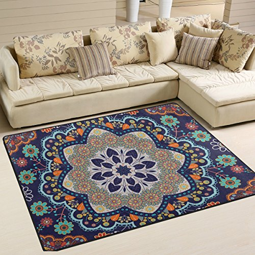 Bohemian Floral Hippie Print Playmat Floor Mat For Dining Room Living Room Bedroom, 7'x5' and - Gold Versace Medallion