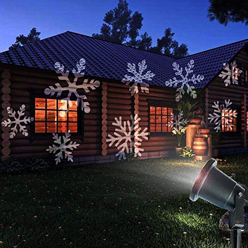 Crystaller Christmas Lights Outdoor Xmas LED Projector Halloween Decorations Waterproof White Moving Snowflake Landscape for Garden Patio Holiday Party Wedding Decoration and Indoor Use ...