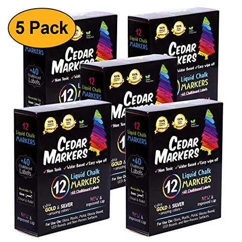 Cedar Markers Liquid Chalk Markers - 12 Pack With Free 40 Chalkboard Labels - Neon Color Pens Including Gold And Silver Ink. Reversible Bullet And Chisel Tip And A New Revolutionary Cap. (5 Pack)