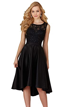 Yorformals Womens High Low Beaded Lace And Satin Bridesmaid Dress