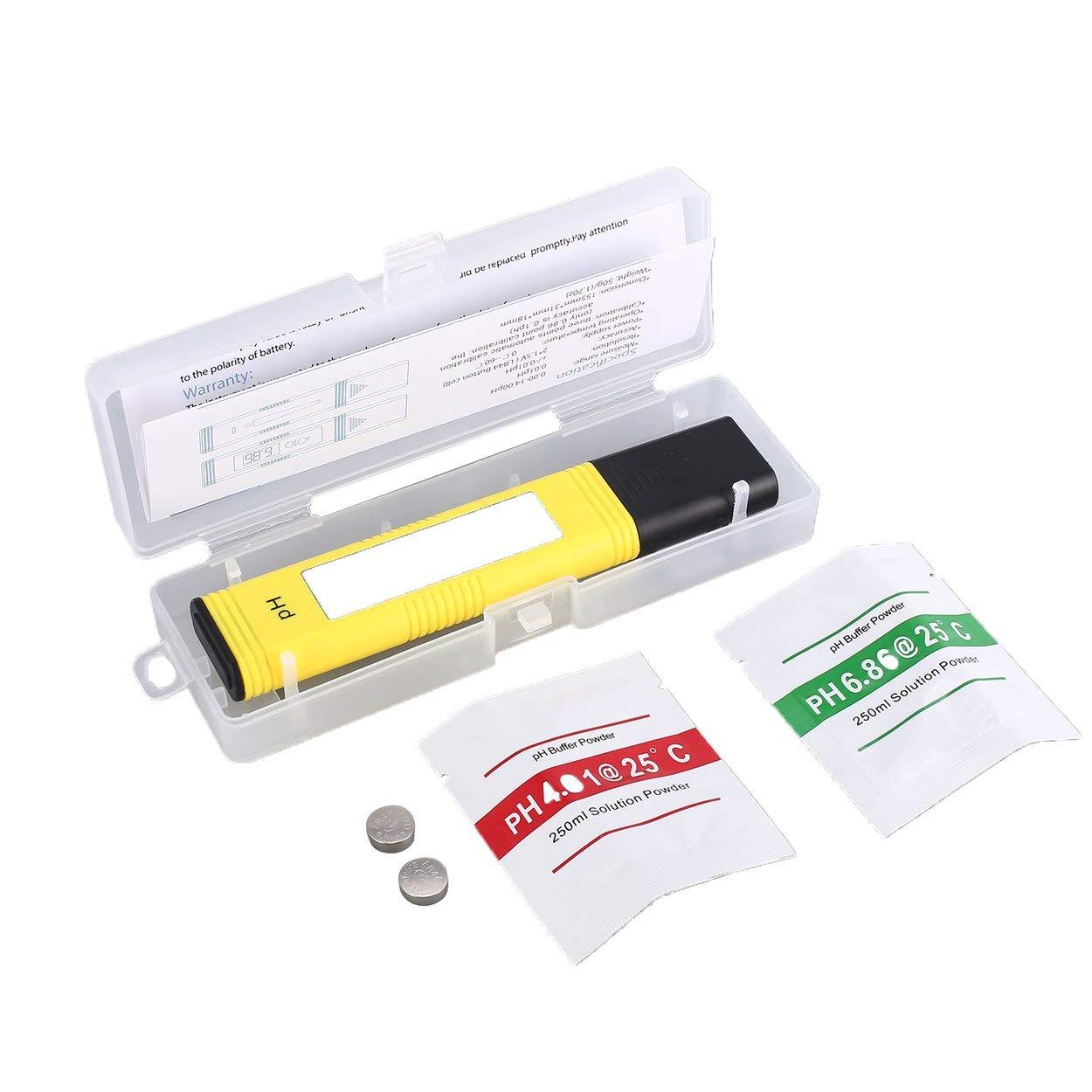 Lorenlli Medidor de pH digital LCD portá til 0-14PH Precisió n del comprobador de pluma 0.01 para acuario de piscina Monitor de calidad del agua Acuicultura Hidroponí a