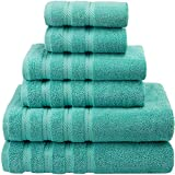 American Soft Linen Premium, Luxury Hotel & Spa Quality, 6 Piece Kitchen & Bathroom Turkish Towel Set, Cotton for Maximum Softness & Absorbency, [Worth $72.95] Turquoise Blue