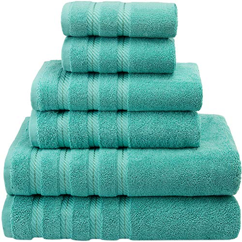 American Soft Linen Premium, Luxury Hotel & Spa Quality, 6 Piece Kitchen & Bathroom Turkish Towel Set, Cotton for Maximum Softness & Absorbency, [Worth $72.95] Turquoise Blue from American Soft Linen