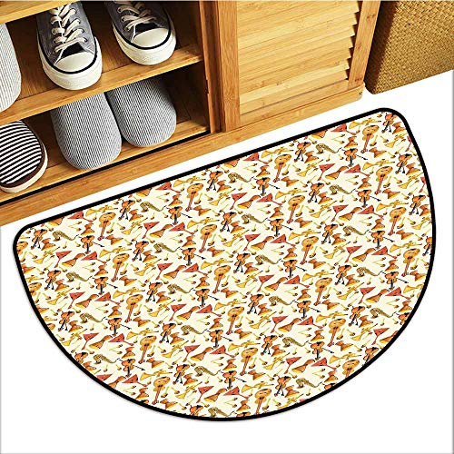 TableCovers&Home Commercial Door Mat, Jazz Music Indoor Out-Imdoor Rugs for Kitchen, Pattern with Horn Drum Guitar and Fiddlestick Folk Music Ensemble Instruments (Multicolor, H20 x D32 Semicircle) -