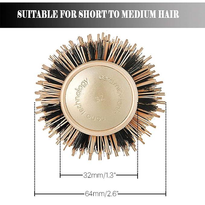 Cepillos para el Pelo Nano Tonneau en céramique thermique avec poils de sanglier naturel pour le brushing, le style, augmente le volume des cheveux et ...