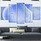 Designart MT14365-373 Dark Blue Agate Structure - Modern Abstract Glossy Metal Wall Art,Blue,60x32