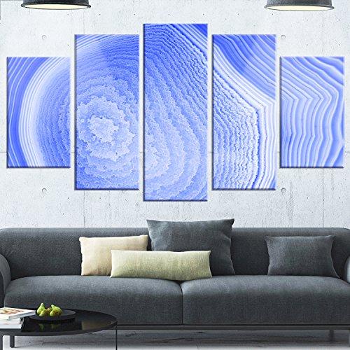 Designart MT14365-373 Dark Blue Agate Structure - Modern Abstract Glossy Metal Wall Art,Blue,60x32 by Design Art