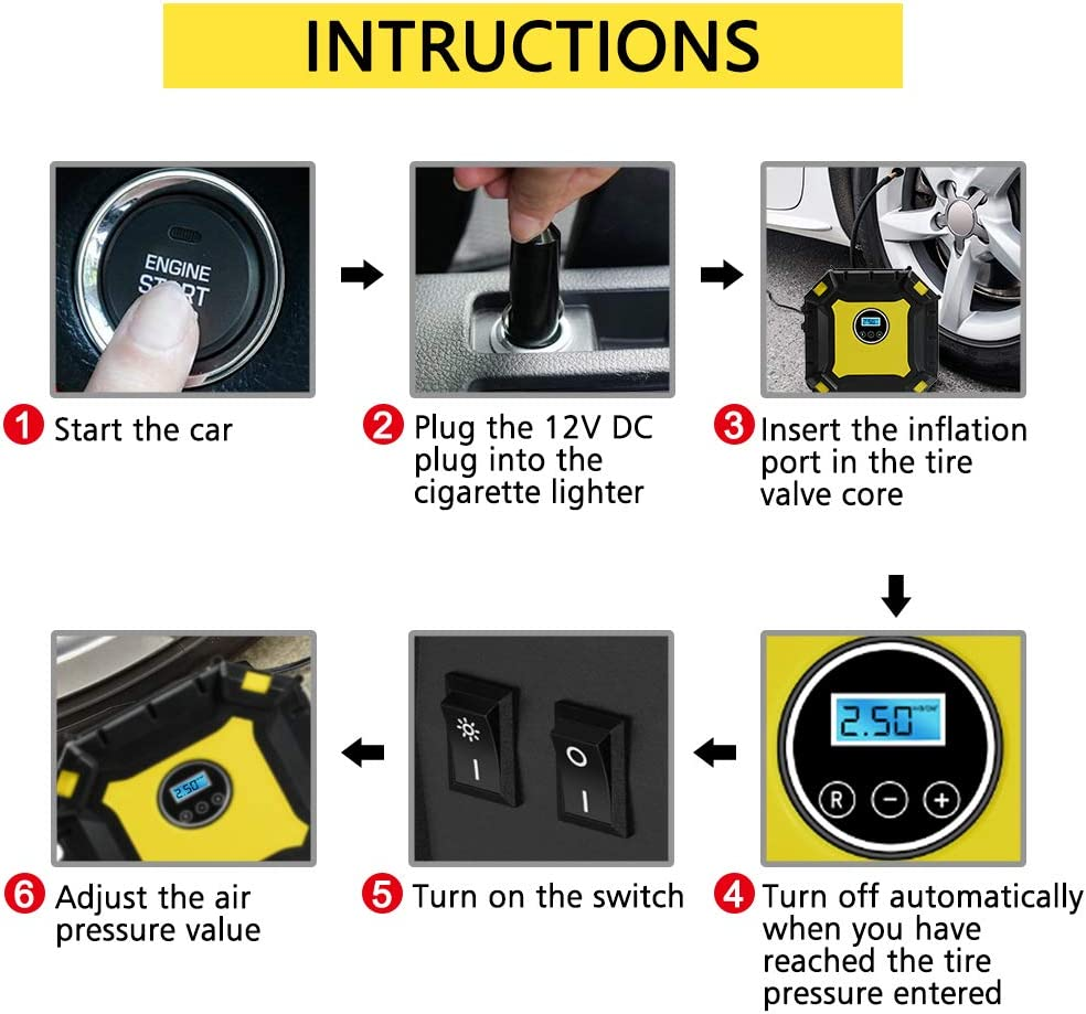 RV Bicycles Tyre Inflation HAUSPROFI Tyre Inflator 12V 100 PSI Tyre Inflator Compressor with 3 Nozzle Adapters for Cars Air Compressor Tyre Pump Valve Adaptors with Digital Gauge and LED Lamp