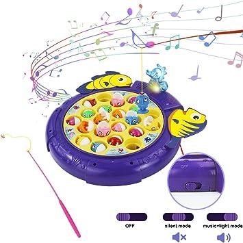 Symiu Juegos Educativos Niños Juego de Pesca Música Ajustable Juegos de Mesa Regalo para Niños Niñas 3 4 5 6 Años con 21 Peces de Juguete Mejorados 4 Caña de Pescar: Amazon.es: Juguetes y juegos