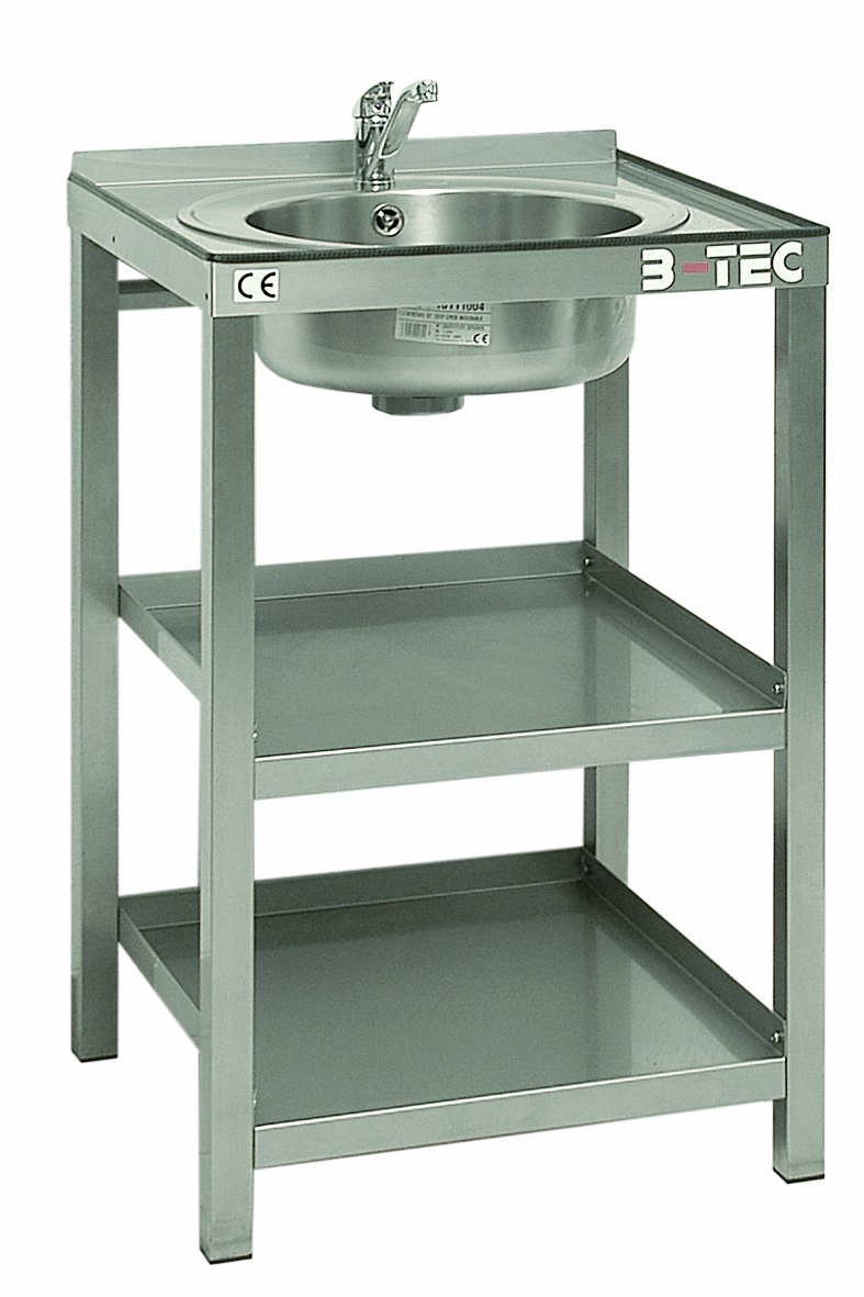 B-TEC AS-B Stainless Steel Modular Work Table with Wash Basin and Spigot, 600 mm Length x 600 mm Width x 985 mm Height