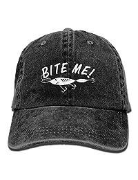 Man & Woman Retro Adjustable Jean Cap Bite Me Funny Fishing Dad Trucker Hat